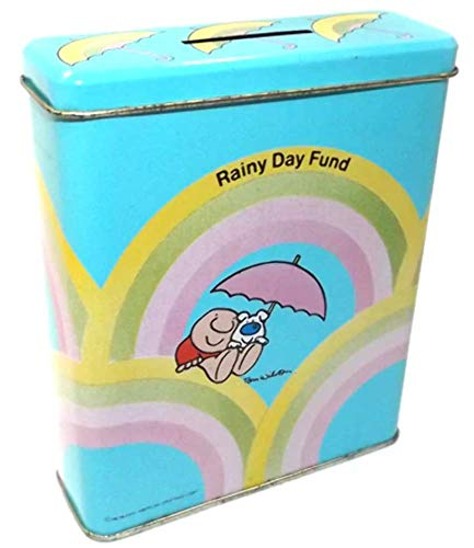 (Vintage 1985 Ziggy & Fuzz Rainy Day Fund Tin Litho Change Bank Can Tin )