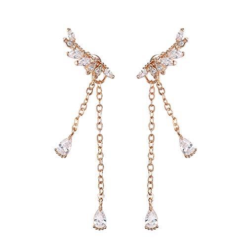 Gold Earrings Angel (Tilevera Cuffs & Wraps Gold-plated Crystal Embellished Angel Wing Tassels Earrings)