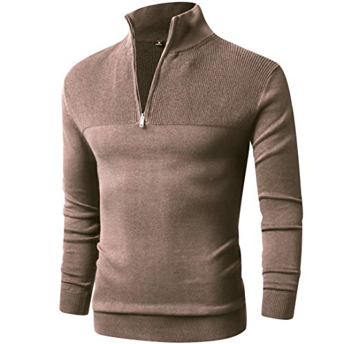 (LTIFONE Mens Slim Fit Zip Up Mock Neck Polo Sweater Casual Long Sleeve Sweater and Pullover Sweaters with Ribbing Edge(Beige,M)