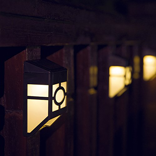 [Warm Light] XLUX S55 Solar Powered Lights for House Outdoor Landscape Garden Fence Lamp, Soft White, 2 Pack (Fence Lamp)