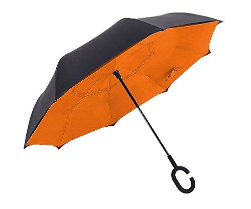 Reverse Umbrella & Inverted Umbrella - Travel Umbrella Windproof The Original All Weather Car Umbrella By (Butterfly Chair Base)