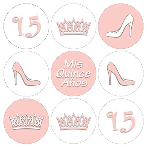 (Soft Pink Quinceanera Party Favor Labels | 216)