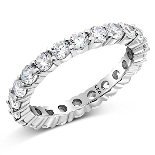 Sz (8) 3.50MM Sterling Silver 925 Cubic Zirconia CZ Eternity Engagement Wedding Band Ring (Zirconia Cubic Necklace Tiffany)