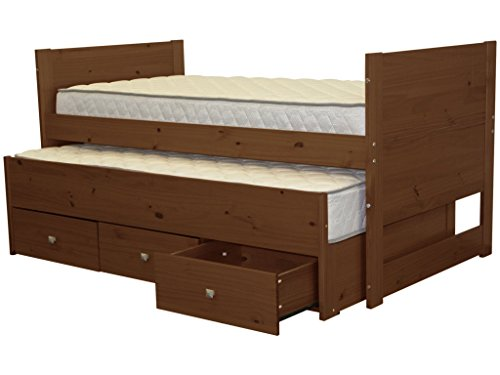 Bedz King Captains Twin Bed with Twin Trundle and 3 Drawers