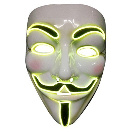 Anonymous Man Costume (2017 Light Up EL LED V Face for Vendetta Movie Costume Guy Fawkes Anonymous Haloween Cosplay Mask (Yellow))