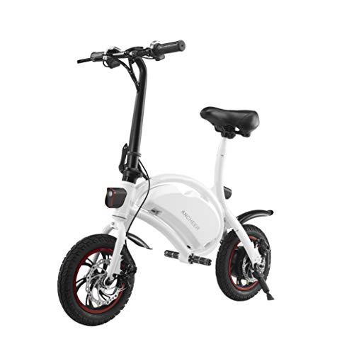 ANCHEER 2019 Folding Electric Bicycle, Waterproof E-Bike, Electric Bike with 12 inch Wheels, 350W Hub Motor Dual Disc Brake (White) (Best Electric Bicycle 2019)