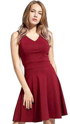Sylvestidoso Women's A-Line Sleeveless V-Neck Pleated Little Wine Red Cocktail Party Dress (XS, Wine Red)