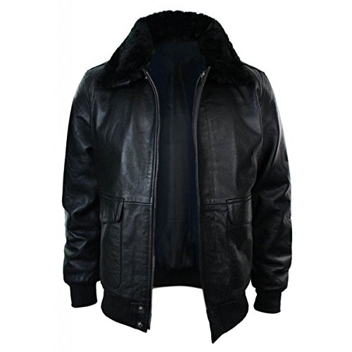Fur Collar Bomber - Aviator Navy G-1 cockpit Flight Bomber Fur Collar Black Leather Jacket, Genuine Leather, Medium