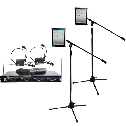Pyle Mic and Stand Package - PDWM4300 4 Mic VHF Wireless Rack Mount Microphone System - x2 PMKSPAD1 Multimedia Microphone Stand With Adapter for iPad 2 (Adjustable for Compatibility w/iPad 1) by Pyle