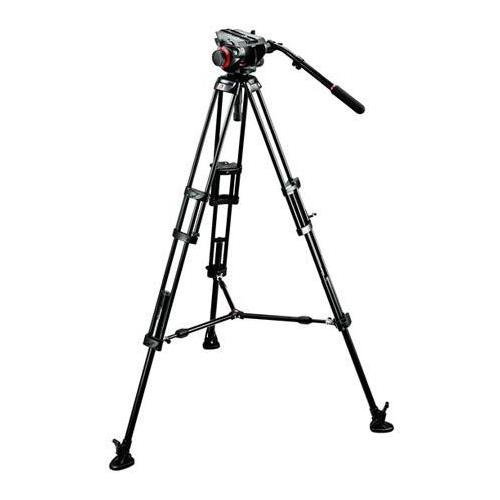 Manfrotto 504HD VD Fluid Video Head with 546B Aluminum Tripod Legs, Bundle - with RC Standard Pan Bar Ex Remote Control for LANC Sony & Canon Cameras, Black by Manfrotto (Image #1)