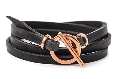 Rose Gold Leather Bracelet for Woman Leather Wrap Bracelet with Toggle Clasp and Genuine Leather Handmade Bracelet -