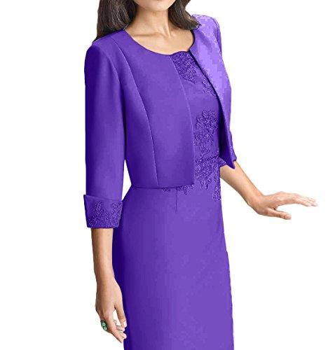 Abendkleider Damen Ballkleider Spitze Hell Etuikleider Knielang Brautmutterkleider Blau Elegant Charmant Violett YdO8Yw