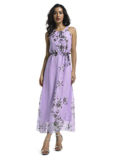 Women's Sleeveless Halter Neck Vintage Floral Print Maxi Dress Purple - Purple Wedding Guest Dress