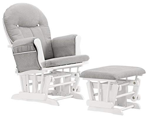 Angel Line Celine Glider and Ottoman, White/Gray Cushion with White - Line Glider