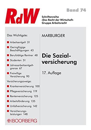 Die Sozialversicherung (Schriftenreihe RdW) Taschenbuch – 1. Januar 2015 Horst Marburger Richard Boorberg Verlag 3415054225 Handels- und Wirtschaftsrecht
