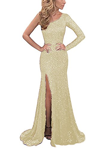 YMSHA Womens One Shoulder Sequined Evening Dresses Formal Party Gowns Light Gold 6