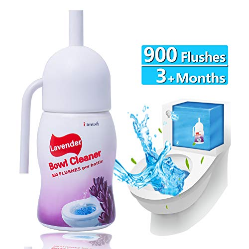 Automatic Toilet Bowl Cleaner Natural Disinfectant Scrub-Free Automatic Bathroom and Tank Cleaning System Bleach and Blue Cleaning with Lavender Scent 900 Flushes