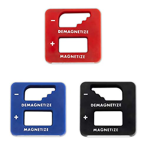 Precision Demagnetizer-Magnetizer - Pack of 3 Colors - Black, Red, Blue - for Screwdrivers, Small Tools, Small and Big Screws, Drills, Drill Bits, Sockets, Nuts, Bolts, Nails and Construction Tools ()