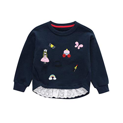 2-6T Toddler Infant Baby Girls Cute Tops Embroidery Patchwork Sweatshirt Round Neck Pullover Blouse Winter Clothes (Navy, 3T) by Aritone - Baby Clothes
