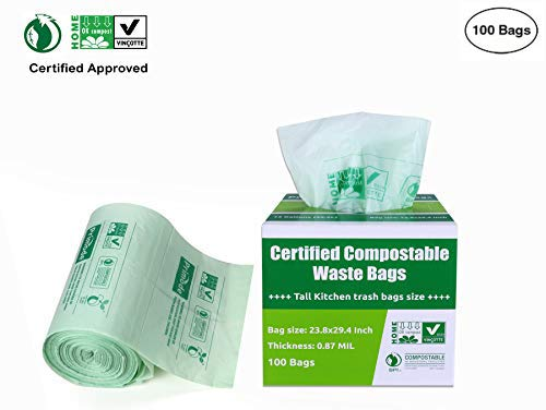 Primode 100% Compostable Bags, 13 Gallon Food Scraps Yard Waste Bags, Extra Thick 0.87 Mil. ASTMD6400 Biodegradable Compost Bags Small Kitchen Trash Bags, Certified by BPI and VINCETTE, (100) ()