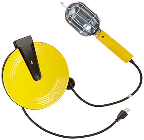 Bayco SL-840 Metal Shield Incandescent Utility Light with Grounded Receptacle on 40-Foot Metal Reel 40' Retractable Cord Reel