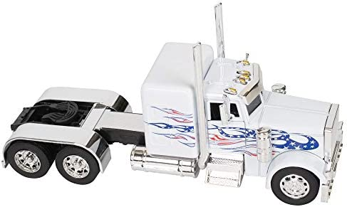 Peterbilt 389/Kenworth W900 Semi Truck Die Cast Toy - 1:32 Scale (White  with Red and Blue Flames)