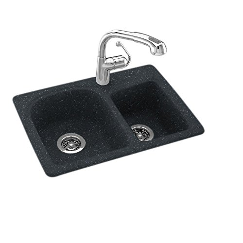 Dual Mount Composite 25 in. 1-Hole Double Bowl Kitchen Sink in Black Galaxy