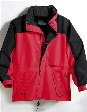 (Premium Quality Men's Tall Sizes 100% Toughlan Nylon Parka Climax Jacket - Red/Black, 3XLT)