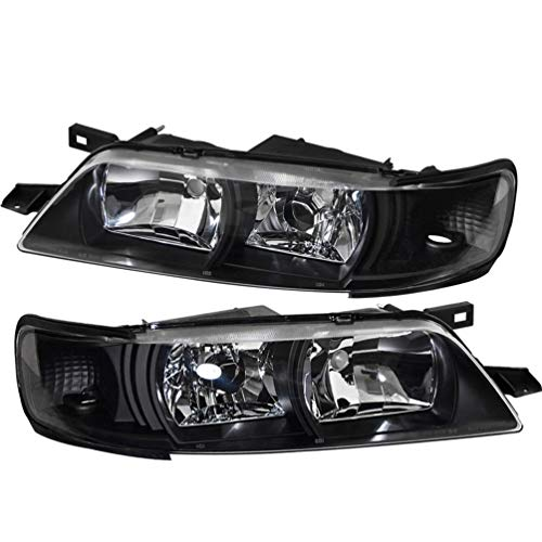 For 95-99 Nissan Maxima R34 1 Piece Replacement Smoke Pair Headlights Headlamps Amber Reflector