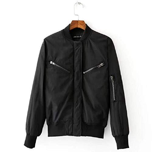 02028545b Amazon.com: Best Quality Hah Women Black Basic Bomber Jacket Spring ...