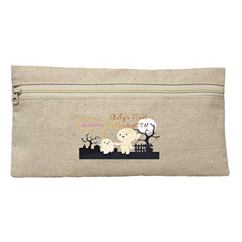 Custom First Halloween Mummy Cotton Canvas Zippered Pouch 12.5