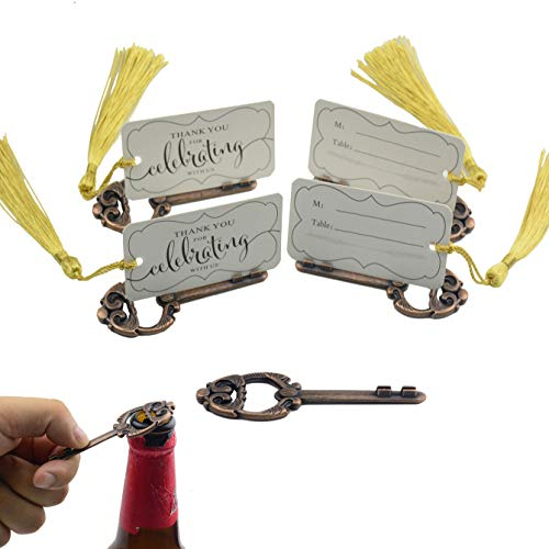 50pcs Multi Function Vintage Skeleton Key Bottle Opener Place Card Holders with Handmade Tassels Wedding Favor (Antique Copper)