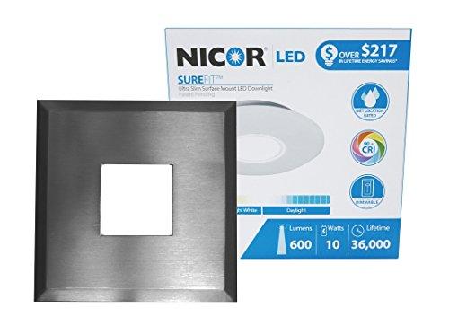 NICOR Lighting SureFit - Kit de luces LED de empalme ultra delgadas de 5.25 pulgadas, caja de derivación de luz LED de 3000...