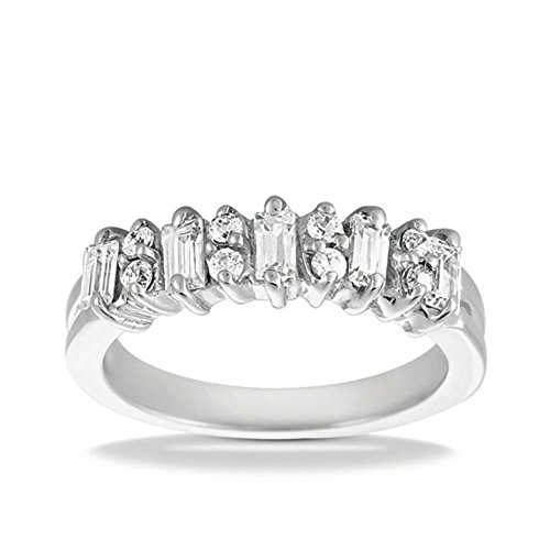(1.00 ct. Wedding Band with Round and Straight Baguette Diamonds)