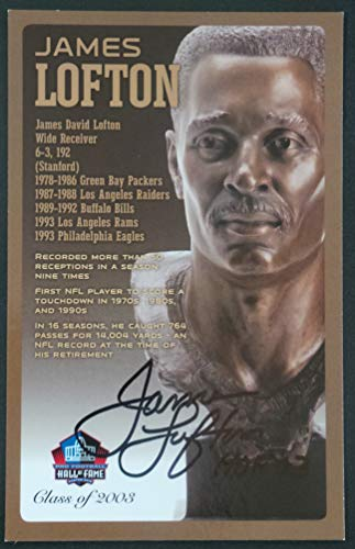(Pro Football Hall of Fame James Lofton Signed NFL Bronze Bust Set Autographed Card with COA (Limited Edition # of 150))