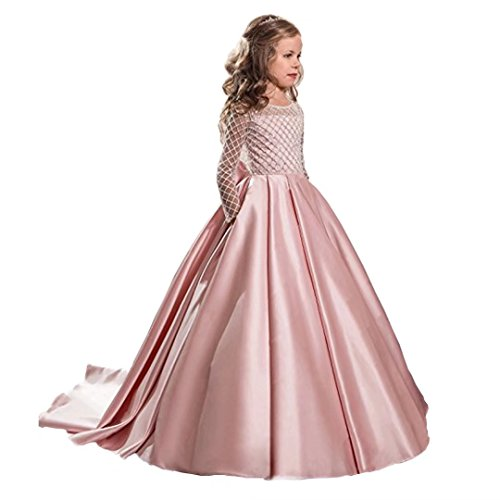 Angel Dress Shop Princess Tulle Ball Gown Kids Long Sleeves First Communion Flower Girl Dresses Small Train Back Bow