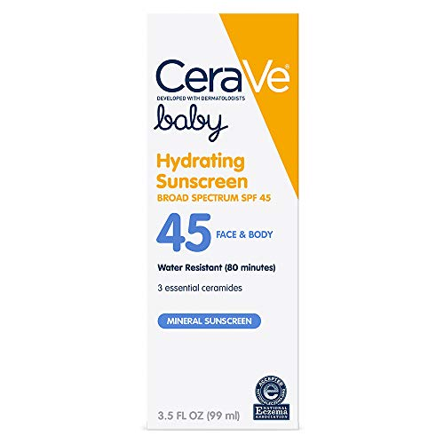 CeraVe Mineral Baby Sunscreen SPF 45   3.5 Ounce   Baby Lotion Sunblock to Protect Delicate Skin   Paraben, Sulfate & Fragrance Free