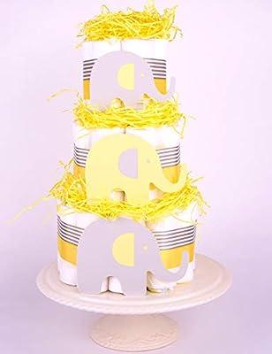Elefante Bebé Ducha - tarta de pañales - Unisex Neutral amarillo ...