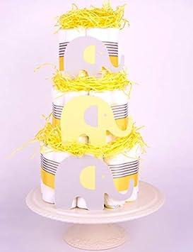 Purenappycakes Grey Elephant Themed New Baby Shower Nappy Cake