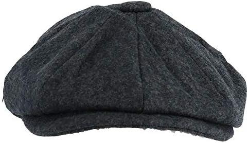 メンズメルトンウール8四半期キャスケット帽,