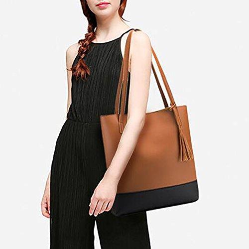 Ladies Women Shoulder Leather Brown Women Women Bag Bag Gray Pu Bags light Handbag Tote Rvwq8Y84