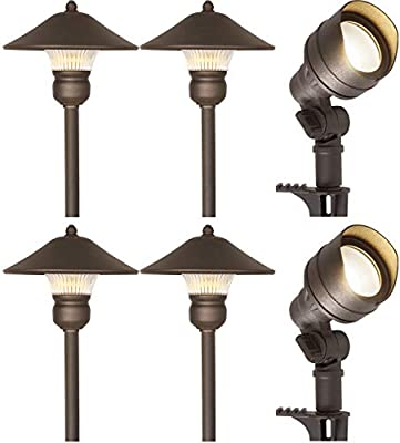 Hykolity 6 Pack Bronze Low Voltage Led Landscape Kits 12v Pathway Flood Light Kits 4 5w 205lm And 3w 150lm Wired For Outdoor Yard Lawn Die Cast Aluminum 30w And 30w Equivalent 15 Year Lifespan
