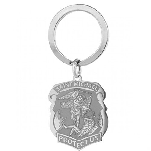 PicturesOnGold.com Saint Michael Badge Religious Engravable Keychain - 3/4 Inch X 1 Inch - Sterling Silver
