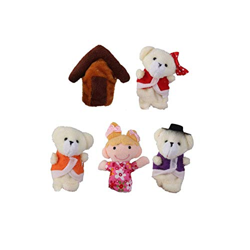 5 PCS Goldilocks & Bears Plush Finger Puppets Story Telling Nursery Fairy Tale Perfect Birthday