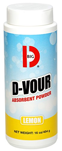 Big D 166 D-Vour Absorbent Powder, Lemon Fragrance, 16 oz (Pack of 6) - Absorbs accidental spills for easy clean-up - Ideal for use in schools, restaurants, health care facilities, grocery stores