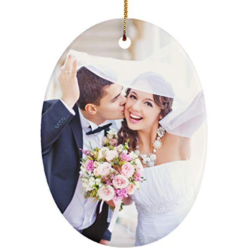 Yeh Gift Personalized Christmas Ornament Huge Collection with Cool Designs & Your Own Photo. Couples Baby First, Nightmare Before Christmas. Christmas Decorations for The Home - 1 Sided (Photo, Oval) (Oval Personalized Ornament Christmas)