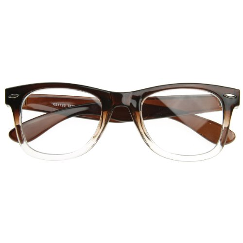 zeroUV - Two Tone Fade Classic Clear Lens Horn Rimmed Glasses (Brown - Tone Glasses 2