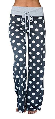 Artfish Women's Stretch Cotton Pajama Lounge Pants Polka Dot Sleepwear (6#,M) Grey-Blue