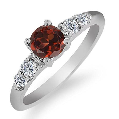 0.79 Ct Round Red Garnet White Diamond 925 Sterling Silver Ring