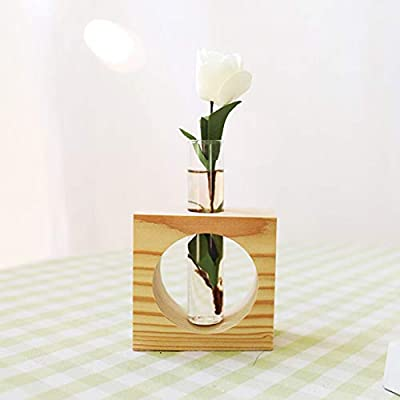 Beher Tube Planter Wooden Tabletop Plant Bonsai Flower Tray Wedding Decorative Vase Flower Bud Vase with Wood Stand Glass Terrarium for Propagating Hydroponics Plants Office Home Decoration 1Pc: Home & Kitchen